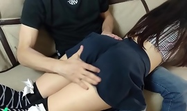 Fucked amateur filial schoolgirl in skirt and stockings