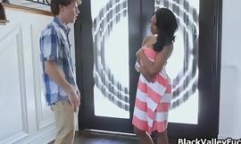 Nude sunbathing ebony blows peeping neighbor