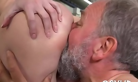 Crazy old dude fucks young gal