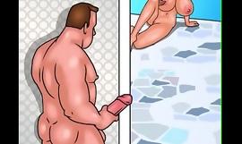 masturbating creep fucks girl poolside