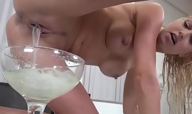 Scads litres of sperm oozing out of her superb bawdy cleft cleft voucher creampies