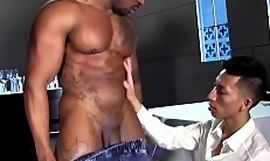 Hot gay sex with Asian jock and head black rafter and his BBC