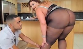 X Big Butt BBW Babe Receives Screwed in Pantyhose in Caboose