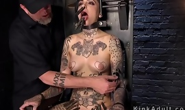 Alt babe cunt vibed in bondage device