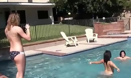 Teens wet and wild lesbian pool party