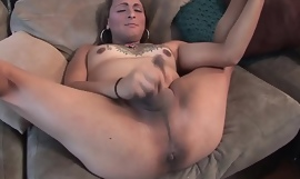 Auditioning transsexual babe jerking off cock