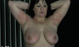 Needles surrounding nipples and bbw bdsm of mature private slave girl China suffering