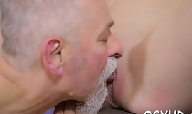 Old boy inserts dong in young hole