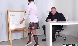 Sweet university girl was tempted and poked by her elderly instructor