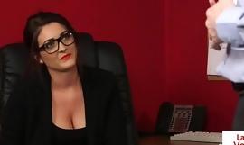 Office beauty instructing jerking off sub