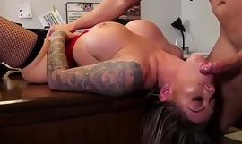 Busty secretary rides her boss hard cock
