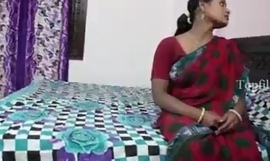 Big boobs indian aunty in red saree fucked apart from neighbour boy..and  record her