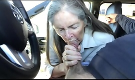 granny blow job in car - cum