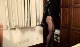 BUTTerFLY: Crossdresser with regard to Zentai Swimsuit Self-Restrained with Monoglove