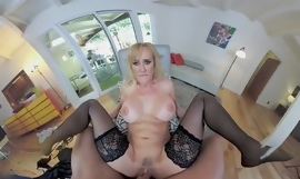 Busty blonde mature in stockings pleasuring horny dude in POV