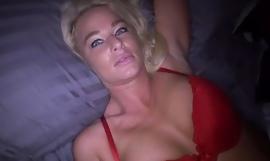 Perverted blonde mom sucks stiff shaft and gets screwed in POV