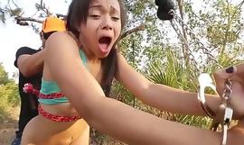 Teen slut Adrian Maya banged outdoor