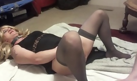 glum petite blonde sissy Kylee Nobles gets anent regular pussy ate with an increment of dominated