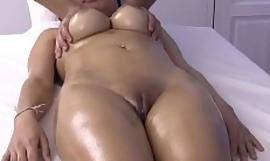 Big boob Asian girl finish feeling fucked on rub-down table