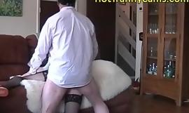 Hot crossdresser schoolgirl fucked by the brush boyfriend