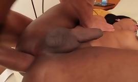 Busty latina tgirl cockriding while jerking