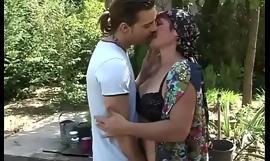 Youthful guy fucks hairy granny pussy