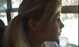 Schoolbus shy girl receives oceans