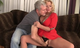 Curvy blonde mature with natural boobs gets rewarded with a good bonk