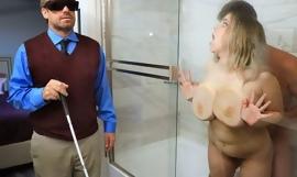 Chubby slut with saggy tits cheats on her blind hubby