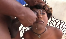 Short-haired ebony all round natural boobs rewards BF all round a nice fuck