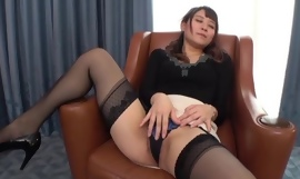 Insatiable Japanese lady involving small tits drilled on a chair