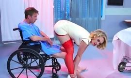 Smoking hot nurse demonstrates her excellent cock sucking skills