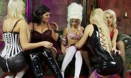 Five gorgeous porn babes arranged wild lesbian orgy