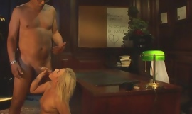 Glamorous girl with natural boobs gets pounded on the table