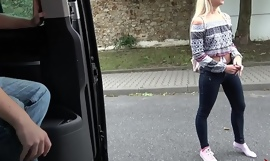 Alluring Blonde Picked-Up and Drilled Hard in a Van