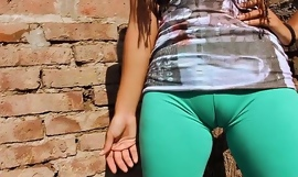 Big cameltoe teen helter-skelter ultra penny-pinching leggins! chunky round botheration n interior