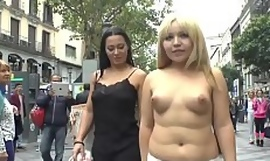 Blonde waiting upon naked crawl in all directions public