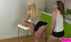 Strapon loving babes compare their cocks
