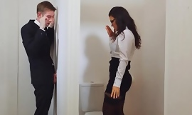 Busy chick in stockings getting fucked tru a gloryhole